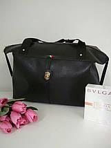 Черная большая сумка из матового кожзама с ремешками по бокам, фото 2