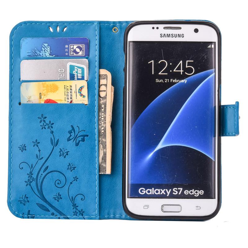 Чехол Butterfly для Samsung Galaxy J7 2015 J700 книжка  женский голубой
