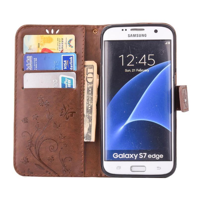 Чехол Butterfly для Samsung Galaxy J7 2015 J700 книжка  женский коричневый