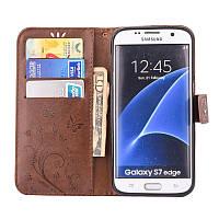 Чехол Butterfly для Samsung Galaxy J7 2015 J700 книжка  женский коричневый, фото 1