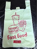 Пакет майка с рисунком,,Fast food,,28Х50 (250 штук)