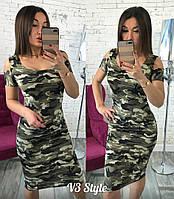 Платье хаки плечики  р.42,44,46, фото 1
