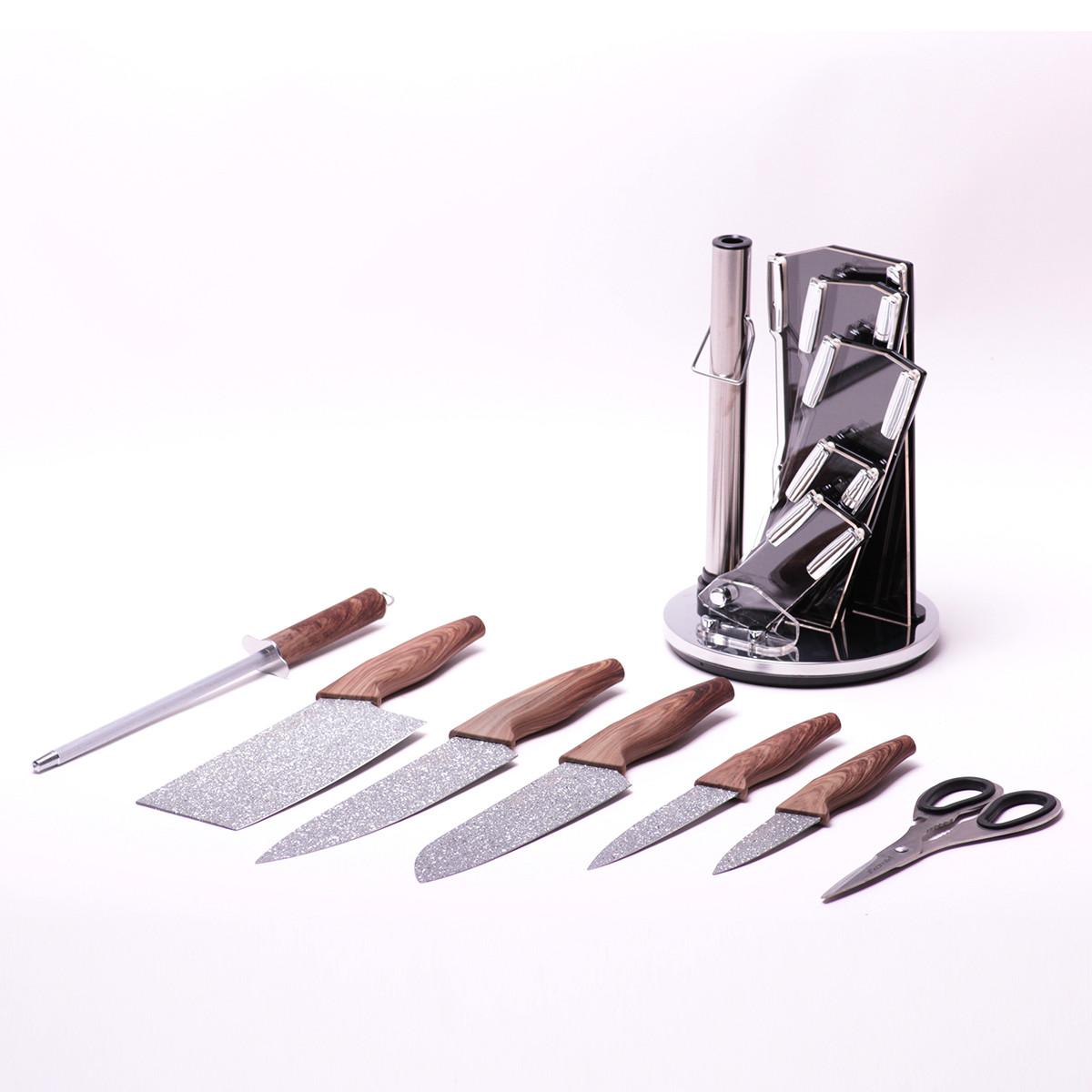 Набор кухонных ножей с мраморным покрытием Kamille, 5 ножей + точилка + ножницы на акриловой подставке