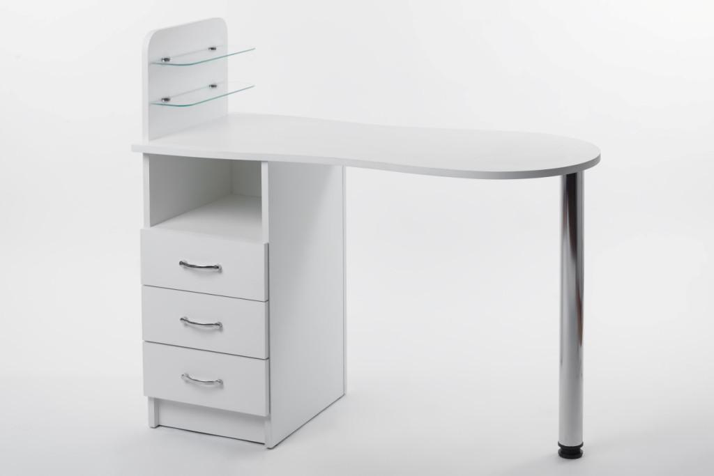 Маникюрный стол со стеклянными полочками под лак Платон 2