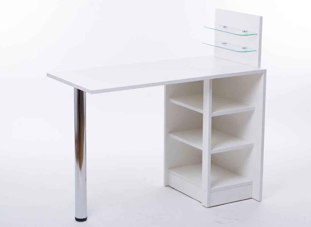 Манікюрний стіл зі скляними поличками під лак Платон 5