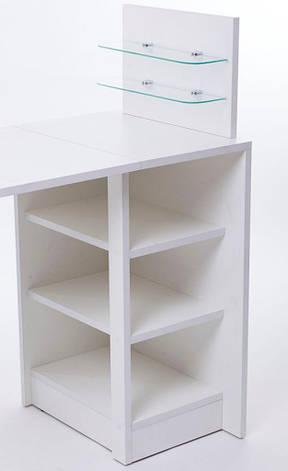 Маникюрный стол со стеклянными полочками под лак Платон 5, фото 2