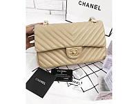 Женская сумка CHANEL Chevron Flap Beige (9750), фото 1