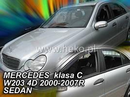 Дефлекторы окон (ветровики)  Mercedes C-klasse 203 2000-2007 4D Sedan 4шт (Heko)