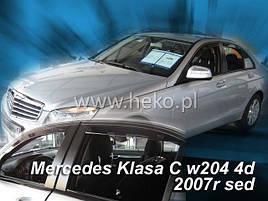 Дефлекторы окон (ветровики)  Mercedes C-klasse 204 2007 -> 4D Sedan 4шт (Heko)