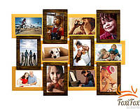 """Фоторамка на 12 фотографий """" Двойное золото """""""