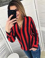 Стильная полосатая  блуза с запахом
