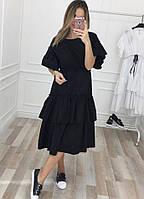"""Летнее хлопковое миди-платье """"RONDA"""" с оборками и коротким рукавом (2 цвета)"""
