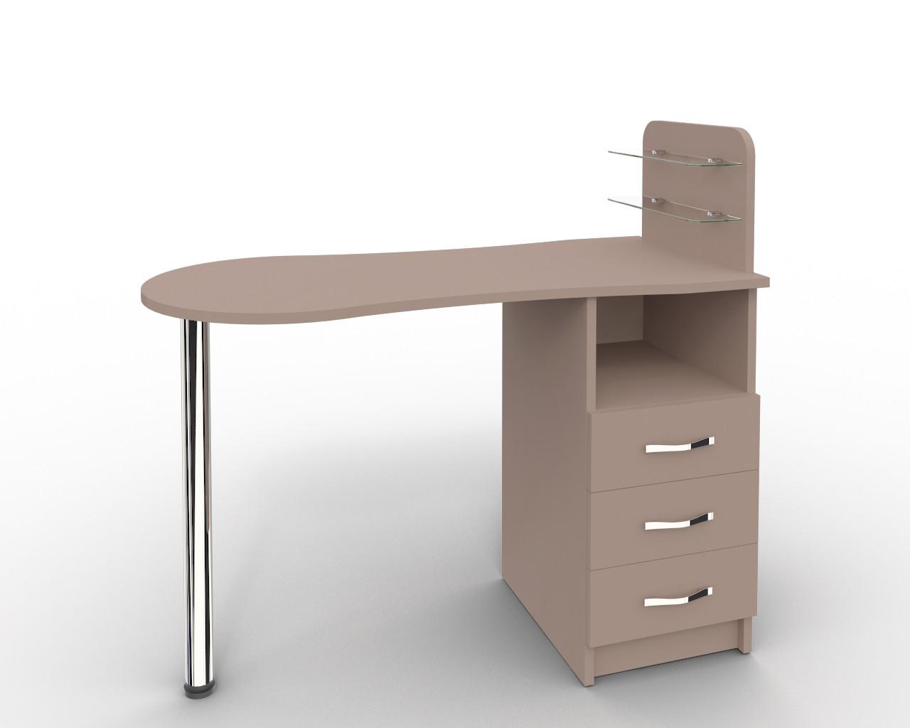 Маникюрный стол со стеклянными полочками под лак   Платон 16