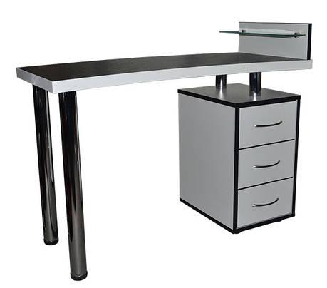 Маникюрный стол со стеклянными полочкой  Платон 17, фото 2