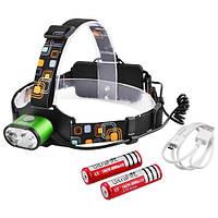 Фонарик налобный LED  с аккумулятором и зарядкой USB