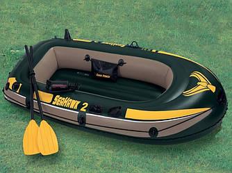 Двухместная надувная лодка Intex 68347 Seahawk 2 Set, 236 х 114 х 41 см, веслами и насосом