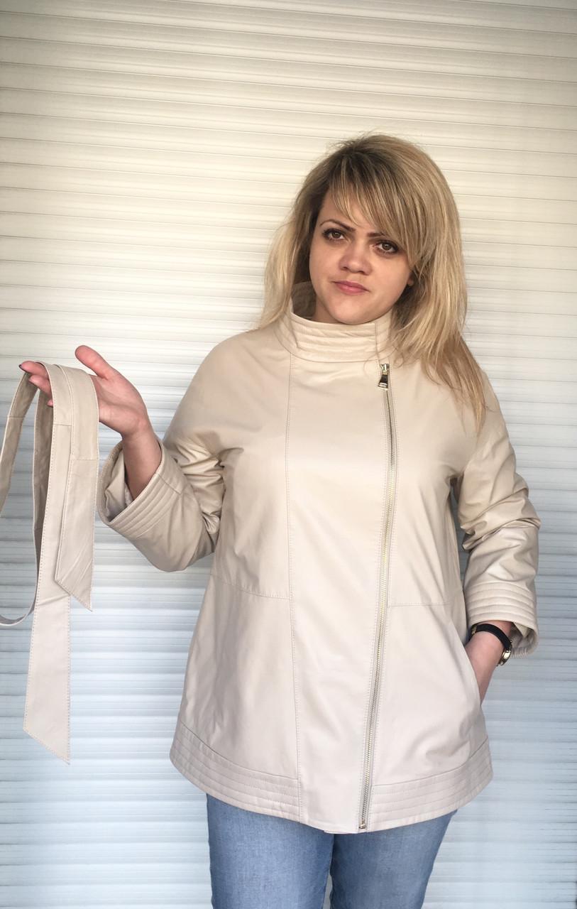 Куртка кожаная натуральная женская белая на молнии с воротником стойка под пояс