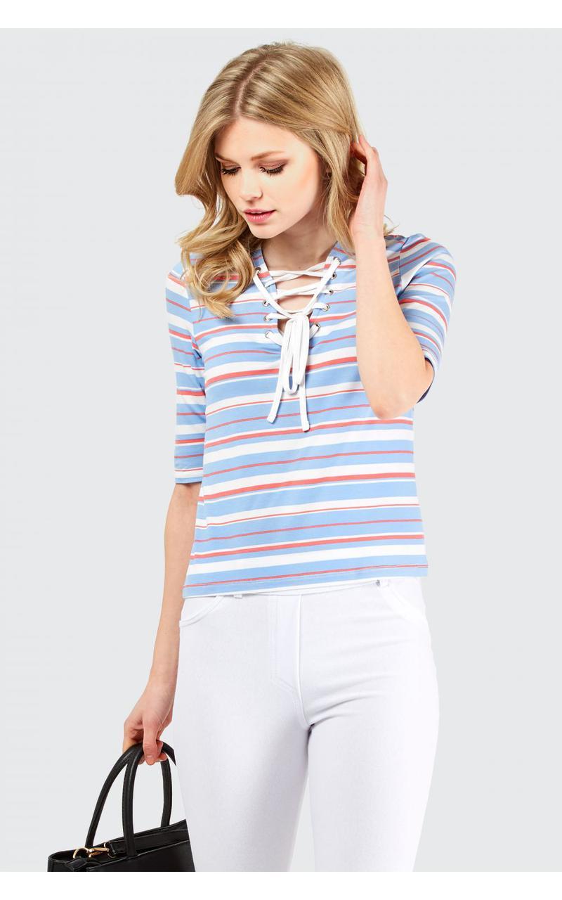 Новая футболка в полоску со шнуровкой Select
