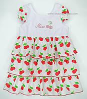 """Летние платья для девочек """"Бабочка"""" вишни+белый."""