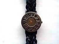 Часы женские ретро стильные кожа/бронза