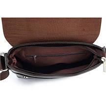 Мужская сумка с тиснением под крокодила на плечо коричневая черная, фото 3