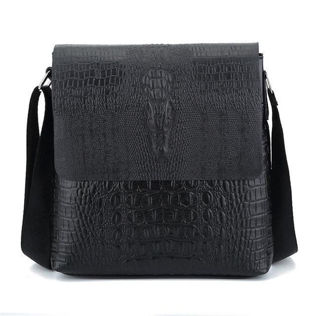 Чоловіча сумка з тисненням під крокодила на плече коричнева чорна