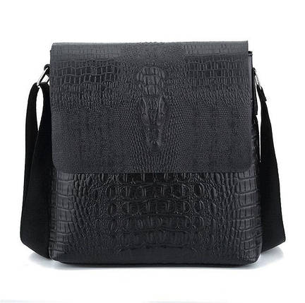 Чоловіча сумка з тисненням під крокодила на плече коричнева чорна, фото 2