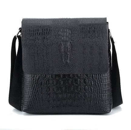 Мужская сумка с тиснением под крокодила на плечо коричневая черная, фото 2