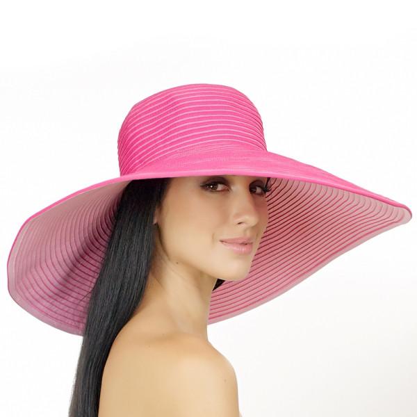 Шляпа малиновая  с широкими полями 18 см принимающая любую форму