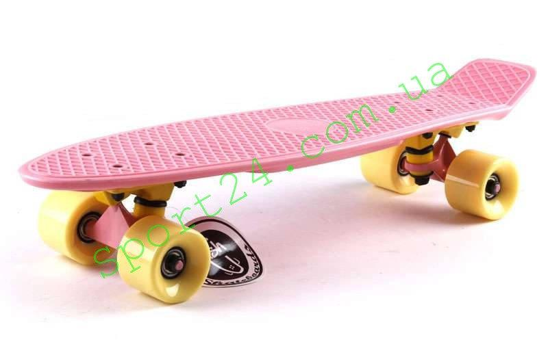 Розовый скейт пенни 22 пастель желтые колеса ФИШ (Penny board pastel pink FISH)