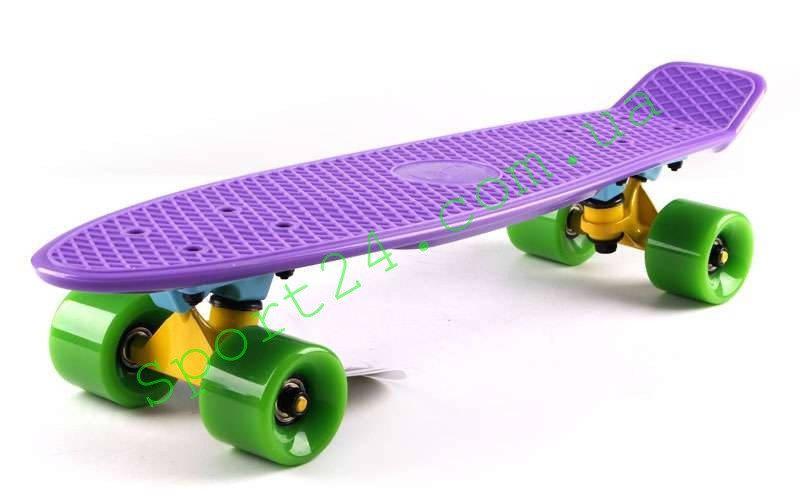 Фиолетовый пенни борд 22 Фиш зеленые колеса (penny board fish)