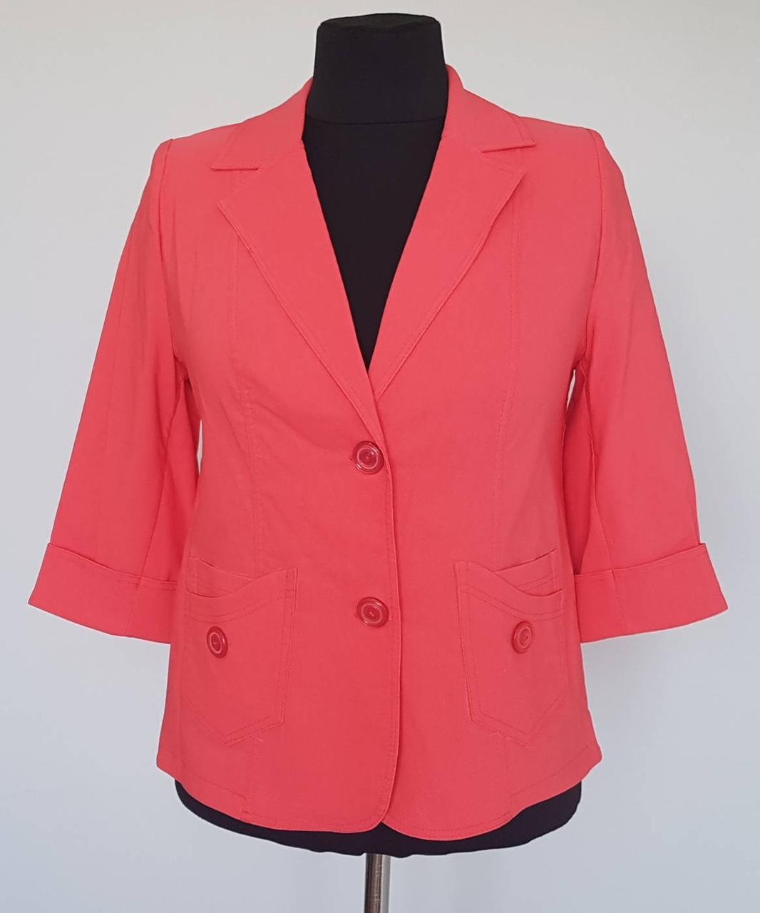 089af535ccd Пиджак женский с рукавами три четверти кораллового цвета - Интернет-магазин  «KatrinStyle» в