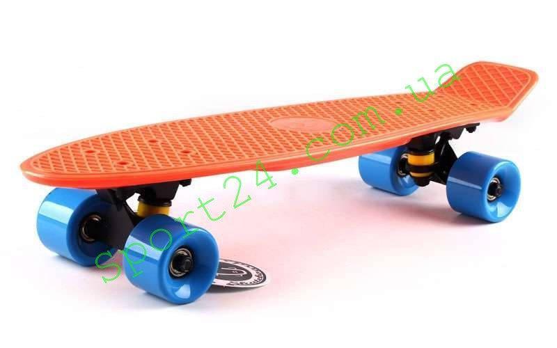 Оранжевый (мандариновый) пенни борд 22 Фиш синие колеса (penny board fish)
