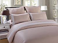Двуспальный евро комплект постельного белья сатин с кружевомTM Bella Villa B-0071