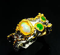 Великолепное кольцо с огненным опалом, хромдиопсидами в серебре. Тайланд!
