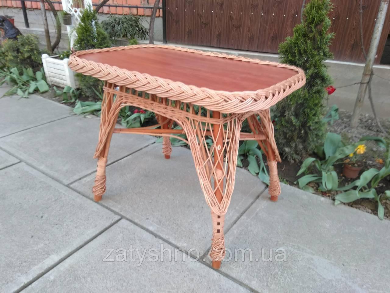 Плетеный стол из лозы прямоугольный