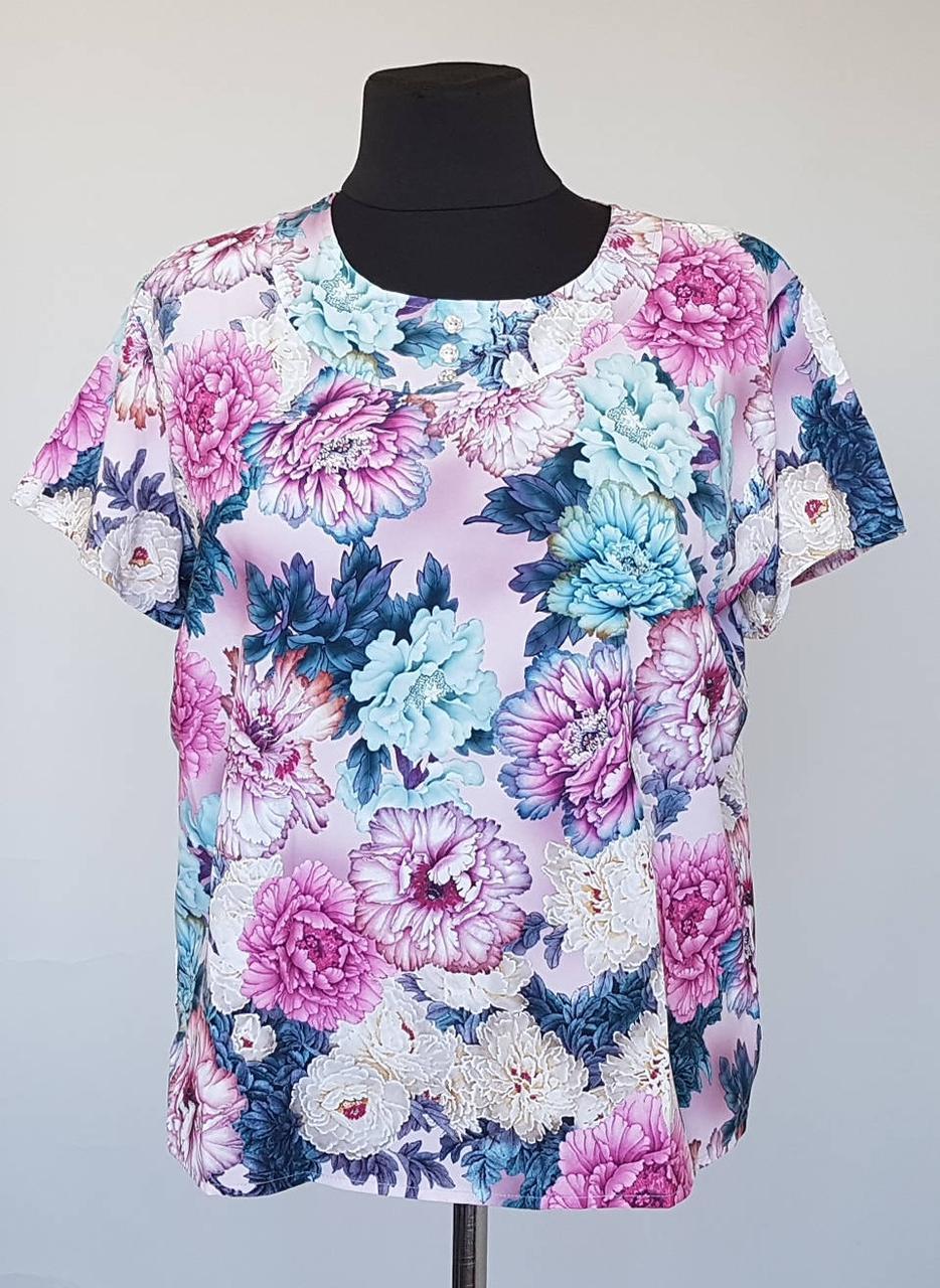 Блуза большого размера  Розовые пионы