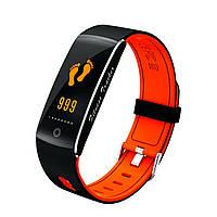 F10 Фитнес браслет цветной дисплей тонометр для iPhone Android трекер пульсометр калории сон черно-оранжевый