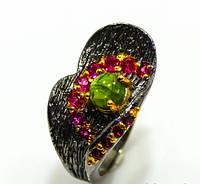 Великолепное кольцо с турмалином, родолитами в родированном серебре. Тайланд!