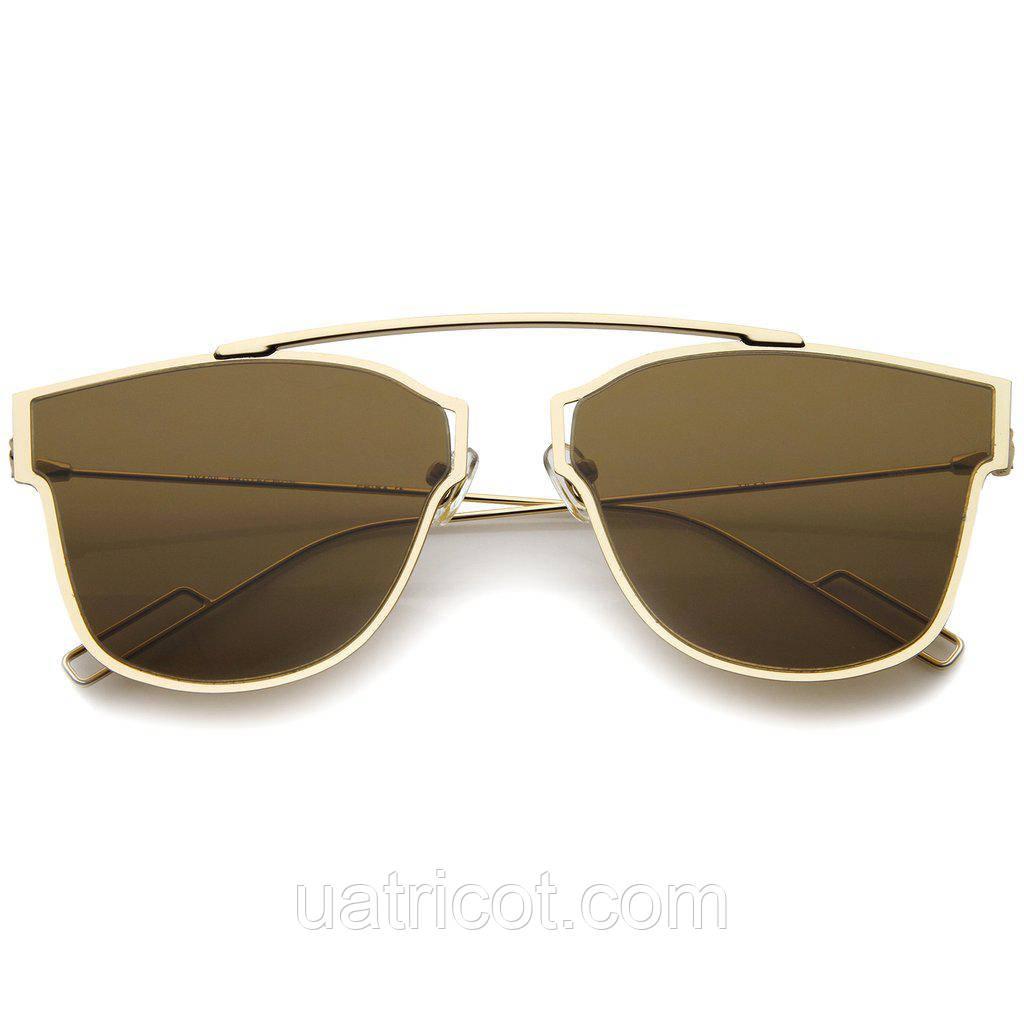 Женские солнцезащитные очки ультратонкие Aviator с коричневой линзой