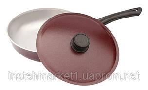 Сковорода БИОЛ А203Д (диаметр 200 мм) алюминиевая с ровным дном, бакелитовая ручка и крышка, фото 2
