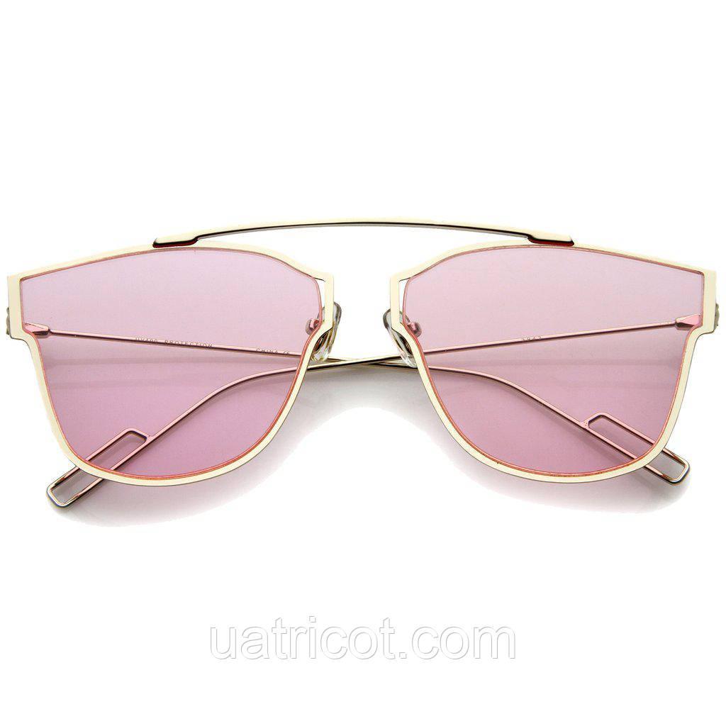 Женские солнцезащитные очки ультратонкие Aviator с розовой линзой