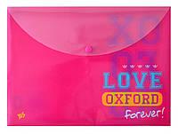 """491126 Папка-конверт на кнопке А4 1 Вересня """"Oxford"""" розовый"""