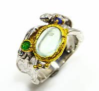 Великолепное кольцо с пренитом, изумрудом и сапфиром в серебре. Тайланд!