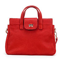 Женская сумка из натуральной кожи флотар красного цвета с двумя основными отделениями , фото 1