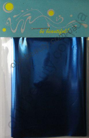 Фольга для дизайну нігтів, литва (перекладна). Колір: блакитна (Широка - 7см на 1 метр)