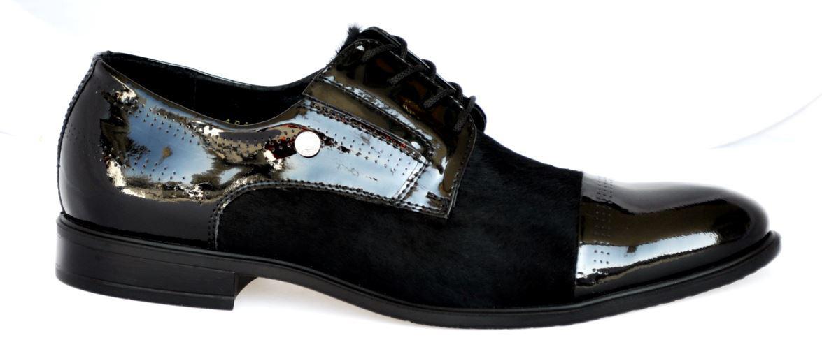 Мужские туфли из натуральной лаковой кожи и меха нерпы. Размеры 41, 43, 44 ec6bb0aa176