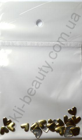 Украшения для ногтей - сердечко (25 штук в пакетике) Цвет: золото