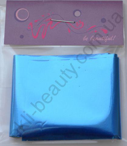 Фольга для дизайну нігтів, литва (перекладна). Колір: глянцева синя (Розмір: 4 см на 1 метр)