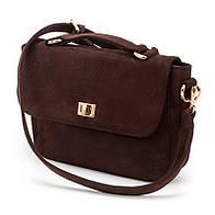 Клатч женская сумочка из натуральной кожи сатин коричневого цвета с тремя основными отделениями